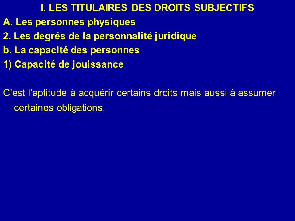 I. LES TITULAIRES DES DROITS SUBJECTIFS A. Les personnes physiques 2. Les degrés de la personnalité juridique b. La capacité des personnes 1) Capacité