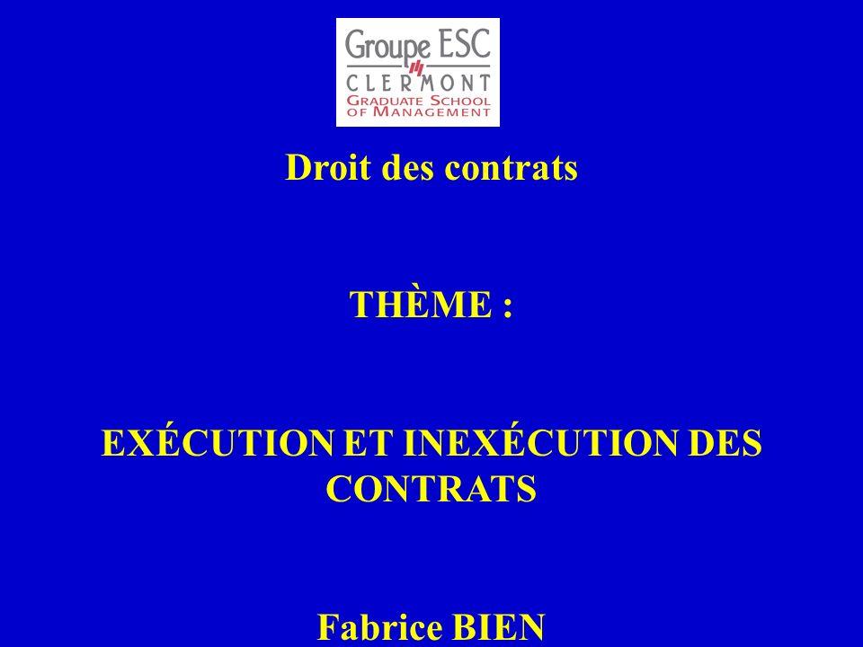 Droit des contrats THÈME : EXÉCUTION ET INEXÉCUTION DES CONTRATS Fabrice BIEN