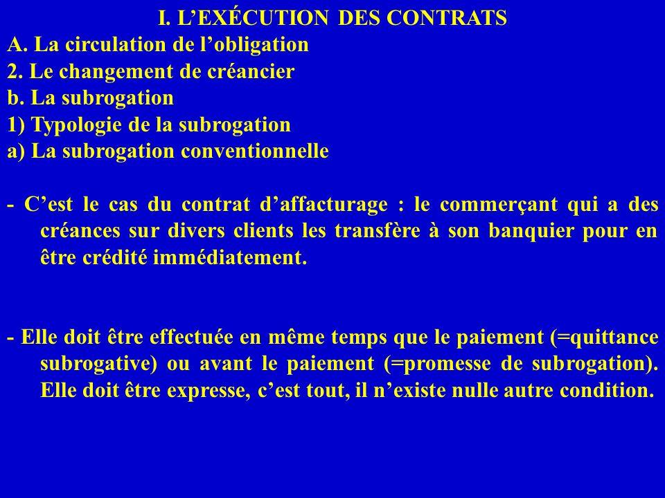 I. LEXÉCUTION DES CONTRATS A. La circulation de lobligation 2. Le changement de créancier b. La subrogation 1) Typologie de la subrogation a) La subro
