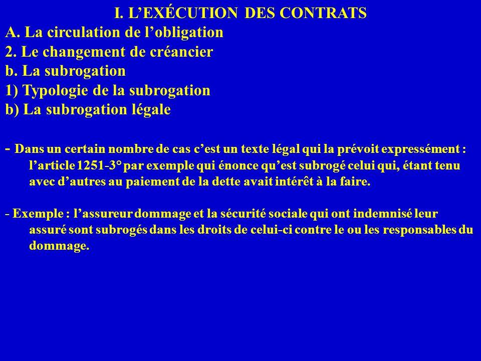 I. LEXÉCUTION DES CONTRATS A. La circulation de lobligation 2. Le changement de créancier b. La subrogation 1) Typologie de la subrogation b) La subro