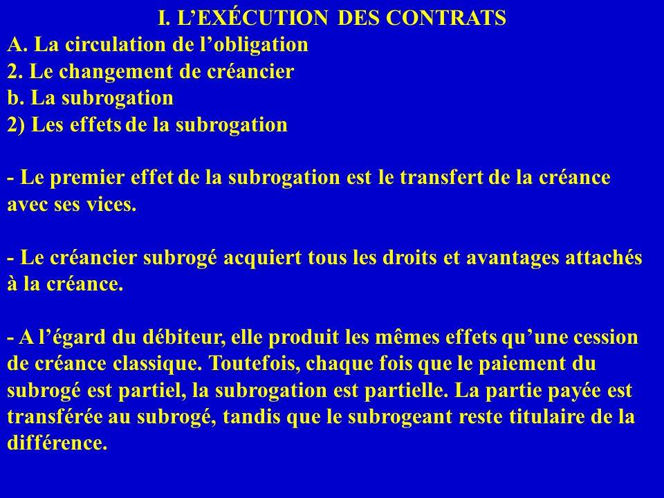I. LEXÉCUTION DES CONTRATS A. La circulation de lobligation 2. Le changement de créancier b. La subrogation 2) Les effets de la subrogation - Le premi