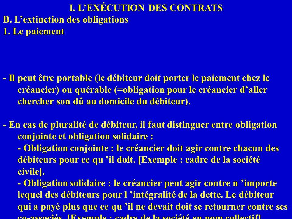 I. LEXÉCUTION DES CONTRATS B. Lextinction des obligations 1. Le paiement - Il peut être portable (le débiteur doit porter le paiement chez le créancie
