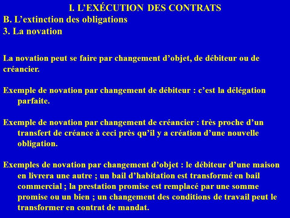 I. LEXÉCUTION DES CONTRATS B. Lextinction des obligations 3. La novation La novation peut se faire par changement dobjet, de débiteur ou de créancier.