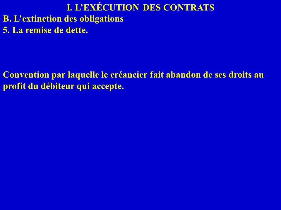 I. LEXÉCUTION DES CONTRATS B. Lextinction des obligations 5. La remise de dette. Convention par laquelle le créancier fait abandon de ses droits au pr