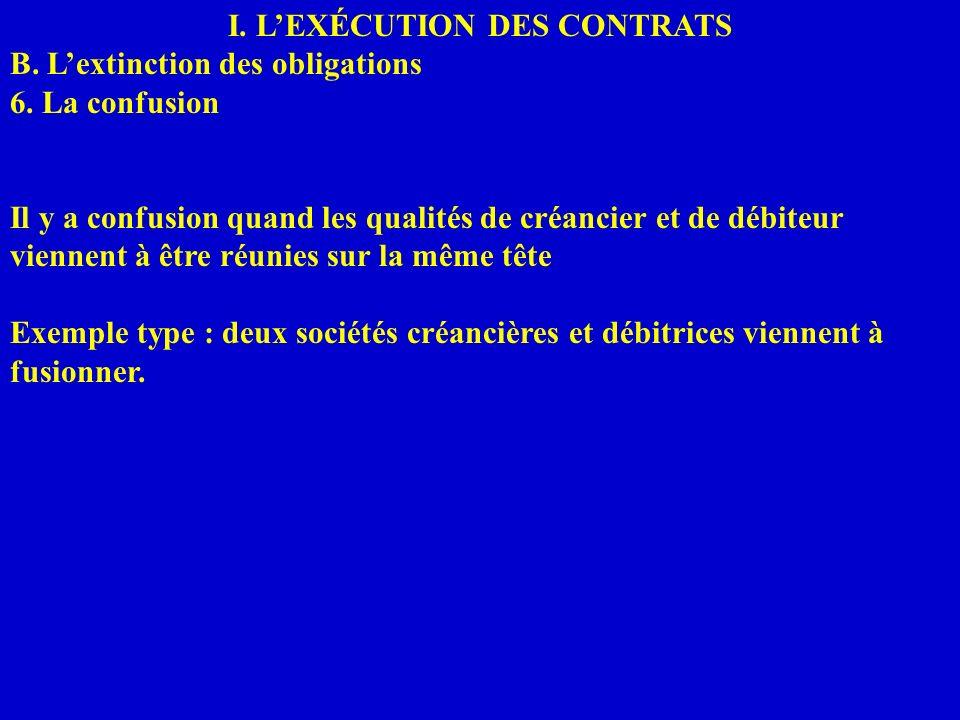 I. LEXÉCUTION DES CONTRATS B. Lextinction des obligations 6. La confusion Il y a confusion quand les qualités de créancier et de débiteur viennent à ê