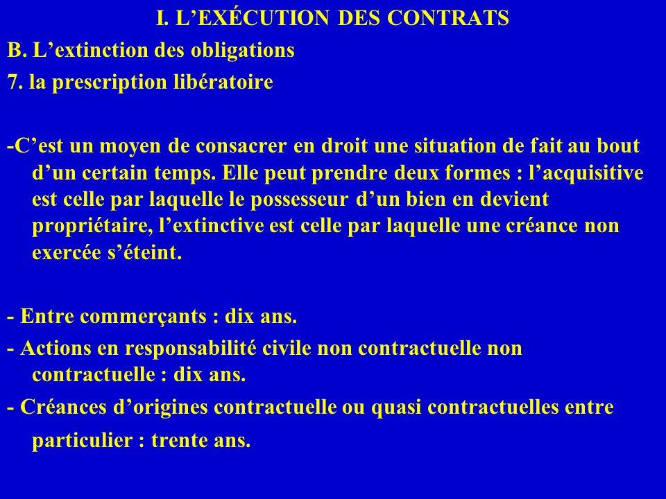 I. LEXÉCUTION DES CONTRATS B. Lextinction des obligations 7. la prescription libératoire -Cest un moyen de consacrer en droit une situation de fait au