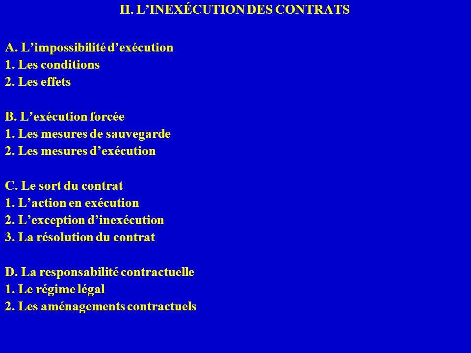 II. LINEXÉCUTION DES CONTRATS A. Limpossibilité dexécution 1. Les conditions 2. Les effets B. Lexécution forcée 1. Les mesures de sauvegarde 2. Les me