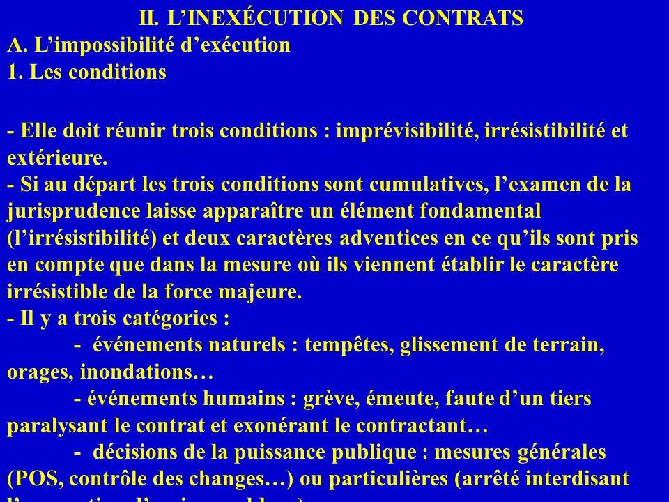 II. LINEXÉCUTION DES CONTRATS A. Limpossibilité dexécution 1. Les conditions - Elle doit réunir trois conditions : imprévisibilité, irrésistibilité et