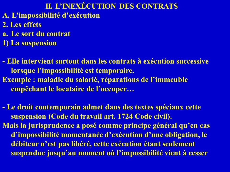 II. LINEXÉCUTION DES CONTRATS A. Limpossibilité dexécution 2. Les effets a.Le sort du contrat 1) La suspension - Elle intervient surtout dans les cont