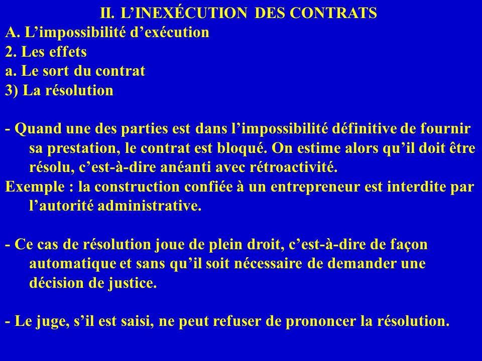 II. LINEXÉCUTION DES CONTRATS A. Limpossibilité dexécution 2. Les effets a. Le sort du contrat 3) La résolution - Quand une des parties est dans limpo