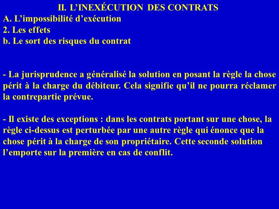 II. LINEXÉCUTION DES CONTRATS A. Limpossibilité dexécution 2. Les effets b. Le sort des risques du contrat - La jurisprudence a généralisé la solution