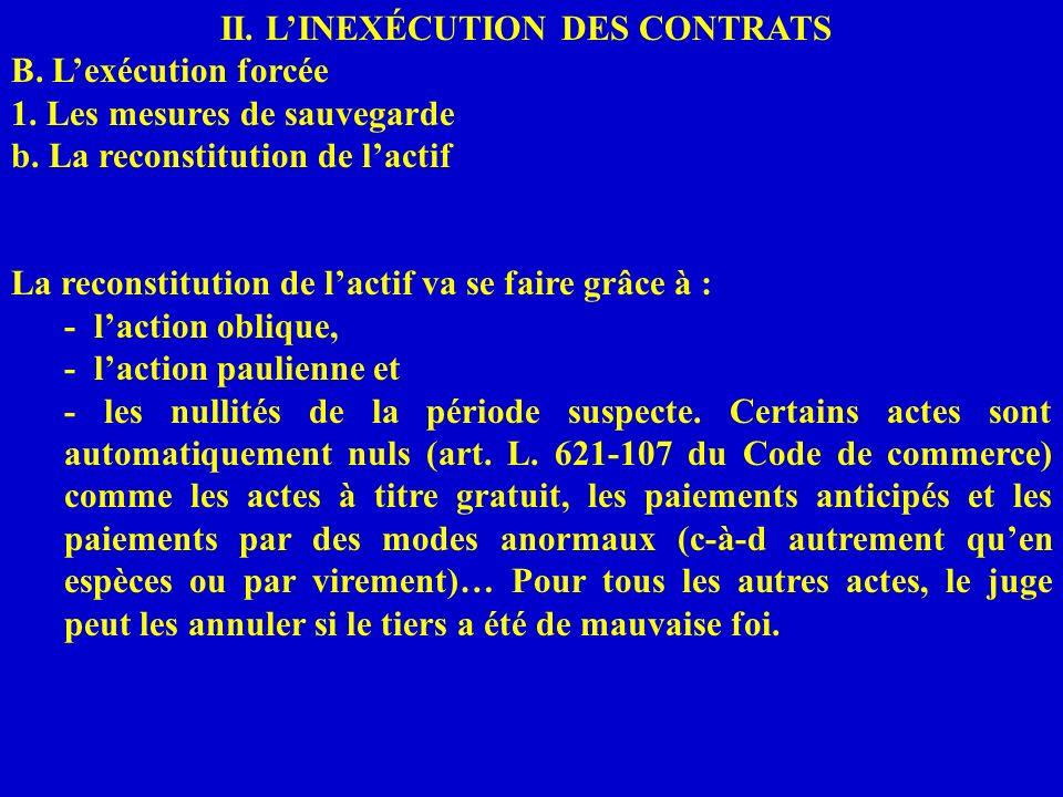 II. LINEXÉCUTION DES CONTRATS B. Lexécution forcée 1. Les mesures de sauvegarde b. La reconstitution de lactif La reconstitution de lactif va se faire