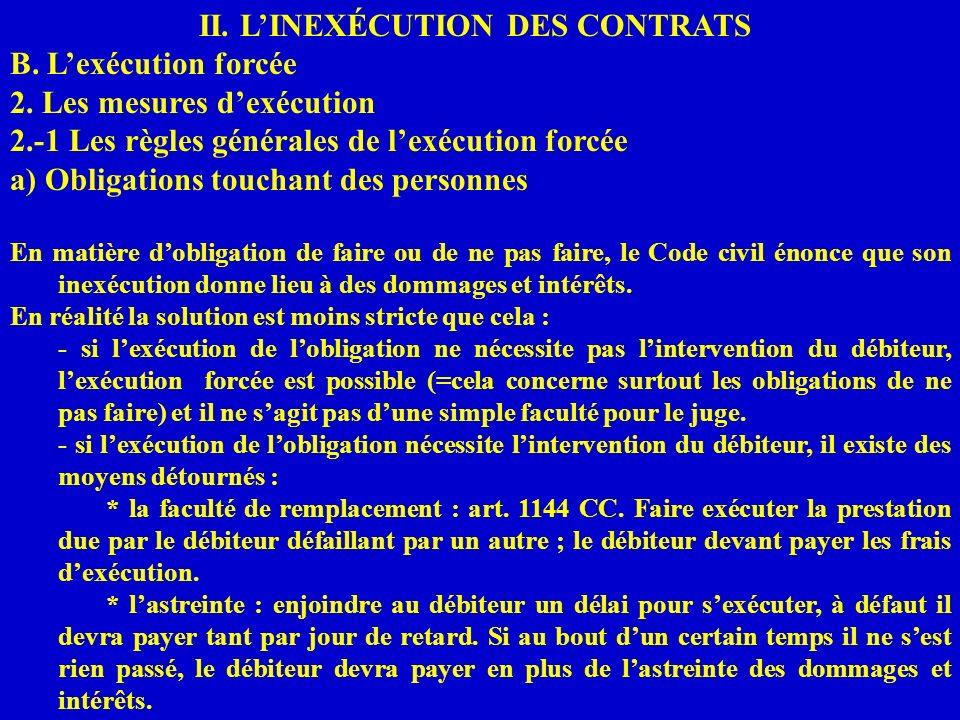 II. LINEXÉCUTION DES CONTRATS B. Lexécution forcée 2. Les mesures dexécution 2.-1 Les règles générales de lexécution forcée a) Obligations touchant de