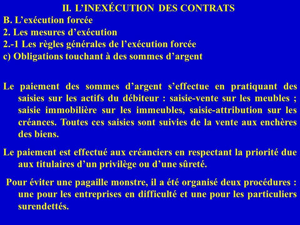 II. LINEXÉCUTION DES CONTRATS B. Lexécution forcée 2. Les mesures dexécution 2.-1 Les règles générales de lexécution forcée c) Obligations touchant à
