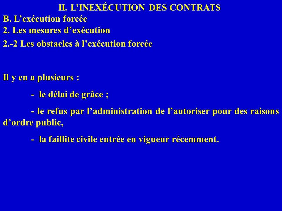 II. LINEXÉCUTION DES CONTRATS B. Lexécution forcée 2. Les mesures dexécution 2.-2 Les obstacles à lexécution forcée Il y en a plusieurs : - le délai d