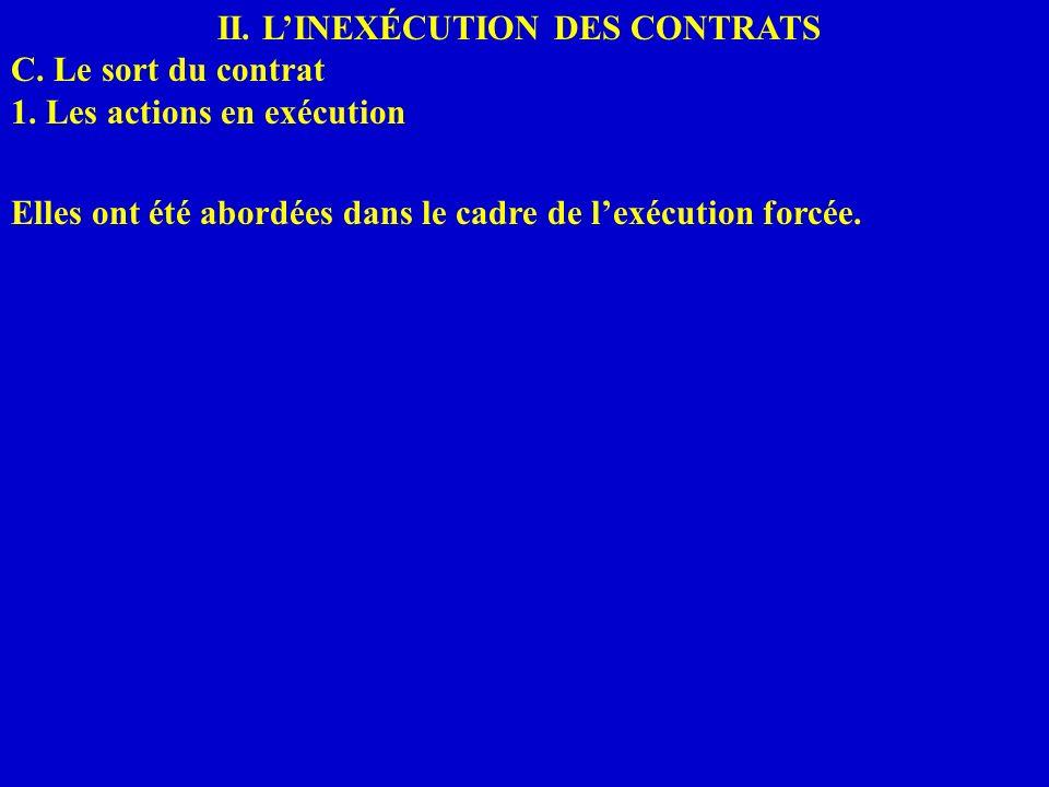 II. LINEXÉCUTION DES CONTRATS C. Le sort du contrat 1. Les actions en exécution Elles ont été abordées dans le cadre de lexécution forcée.