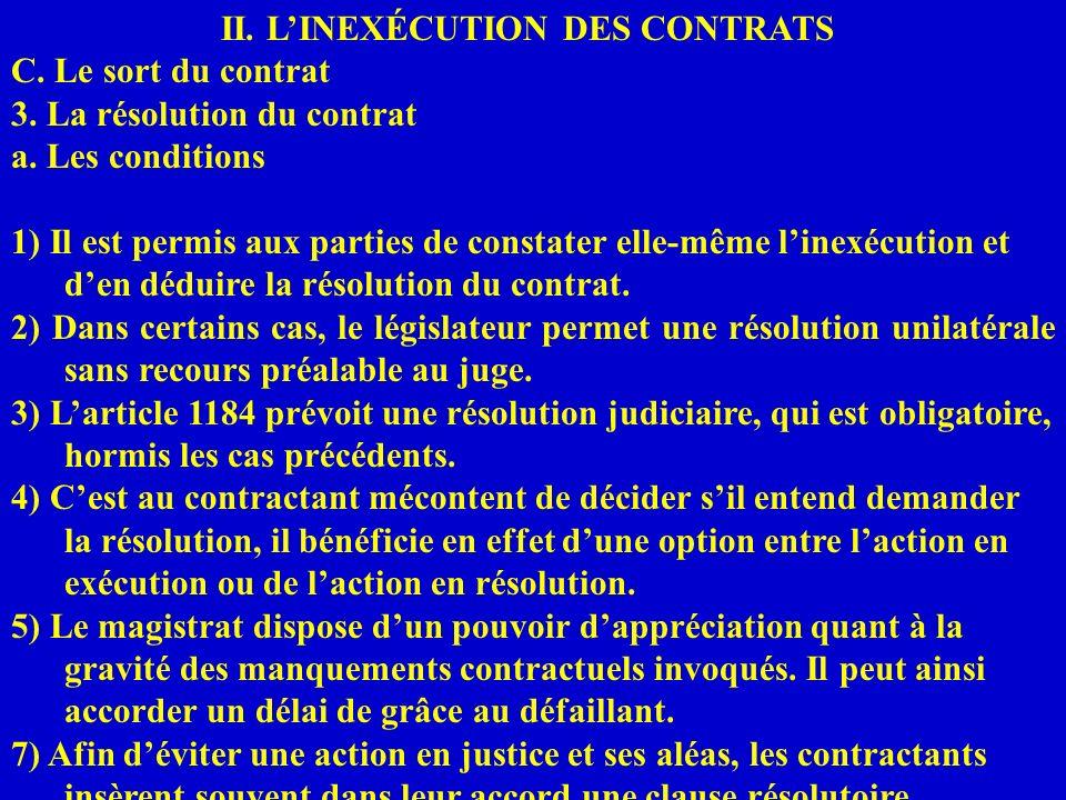 II. LINEXÉCUTION DES CONTRATS C. Le sort du contrat 3. La résolution du contrat a. Les conditions 1) Il est permis aux parties de constater elle-même
