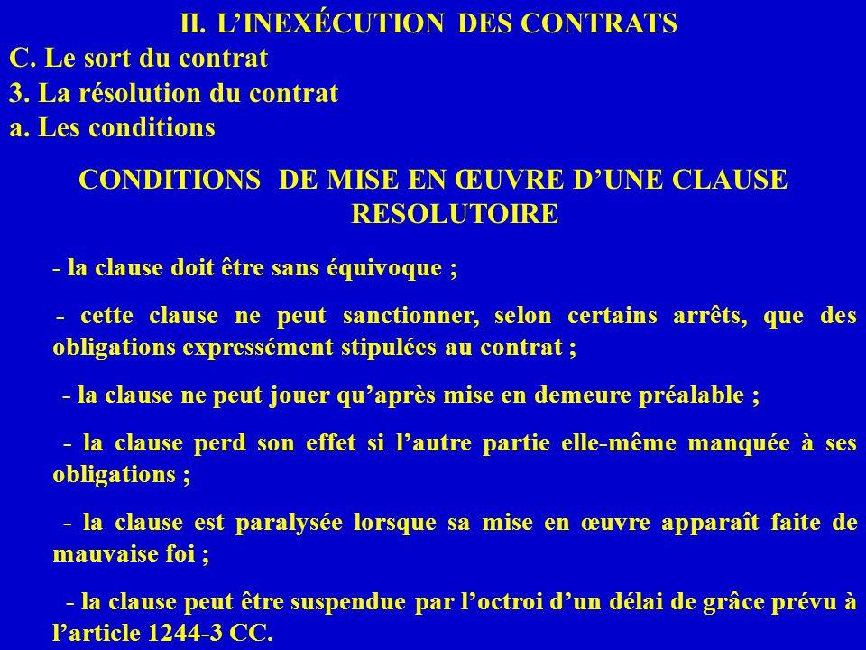 II. LINEXÉCUTION DES CONTRATS C. Le sort du contrat 3. La résolution du contrat a. Les conditions CONDITIONS DE MISE EN ŒUVRE DUNE CLAUSE RESOLUTOIRE