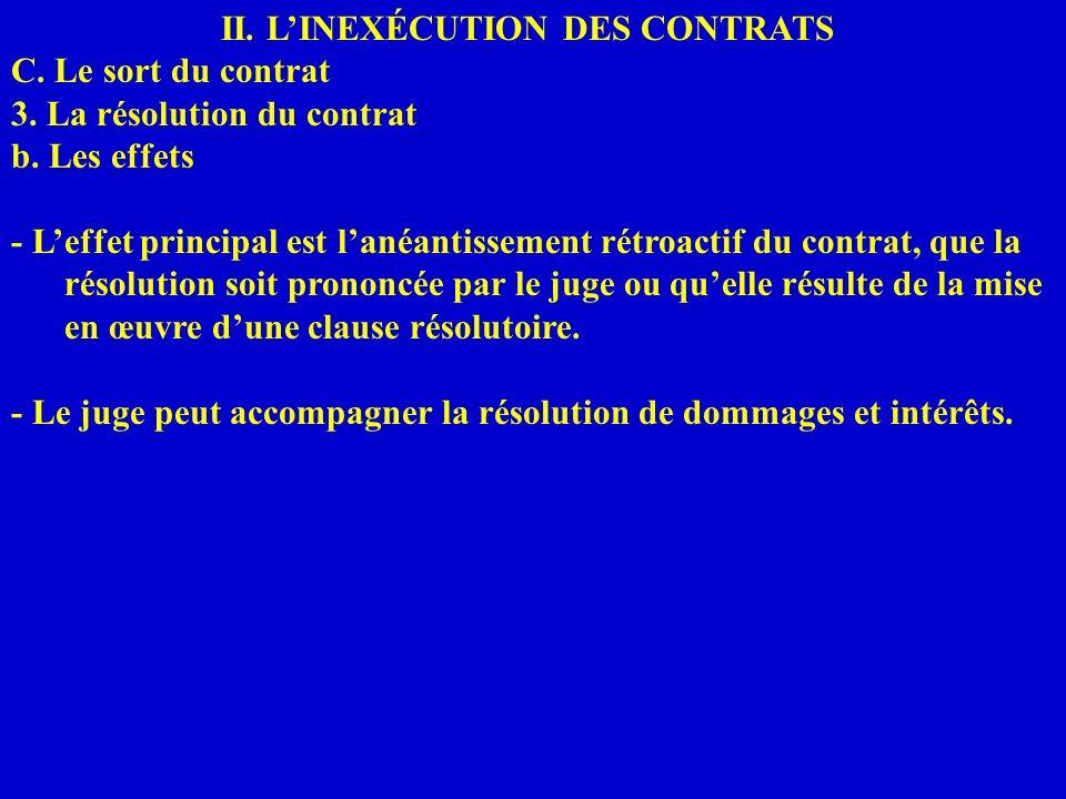 II. LINEXÉCUTION DES CONTRATS C. Le sort du contrat 3. La résolution du contrat b. Les effets - Leffet principal est lanéantissement rétroactif du con
