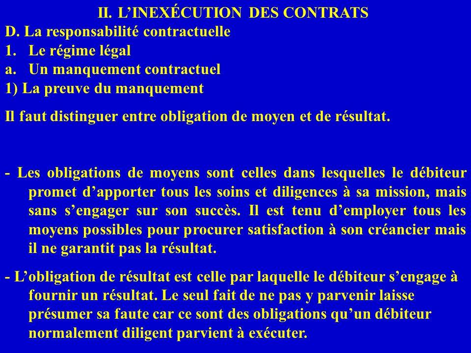 II. LINEXÉCUTION DES CONTRATS D. La responsabilité contractuelle 1.Le régime légal a.Un manquement contractuel 1) La preuve du manquement Il faut dist