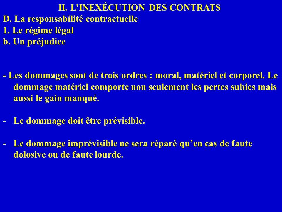 II. LINEXÉCUTION DES CONTRATS D. La responsabilité contractuelle 1. Le régime légal b. Un préjudice - Les dommages sont de trois ordres : moral, matér