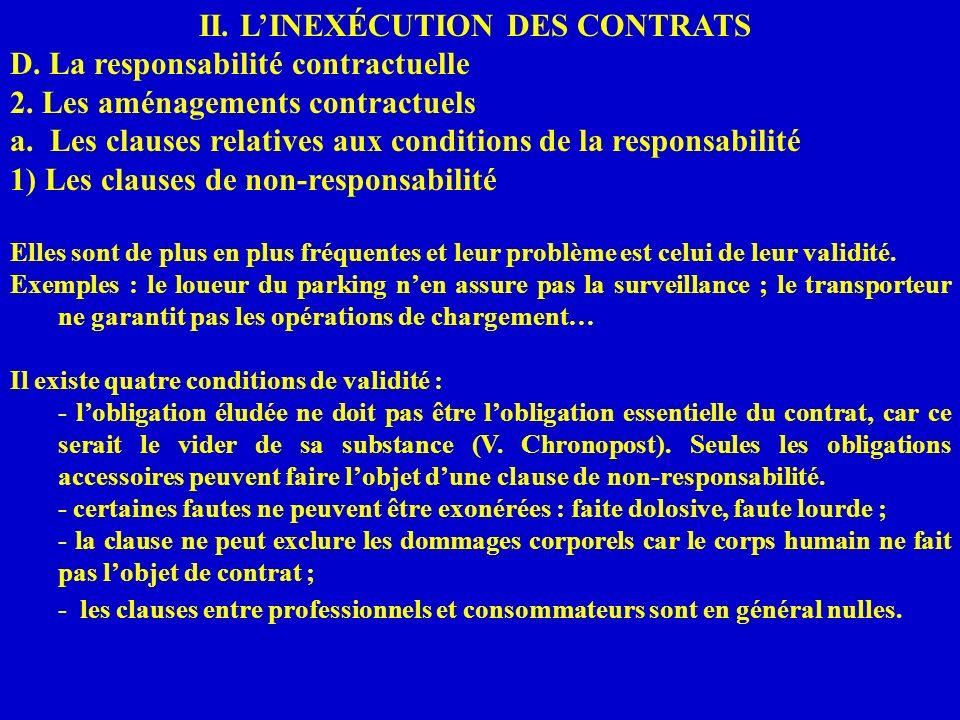 II. LINEXÉCUTION DES CONTRATS D. La responsabilité contractuelle 2. Les aménagements contractuels a. Les clauses relatives aux conditions de la respon