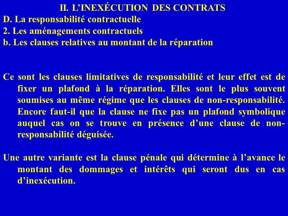 II. LINEXÉCUTION DES CONTRATS D. La responsabilité contractuelle 2. Les aménagements contractuels b. Les clauses relatives au montant de la réparation