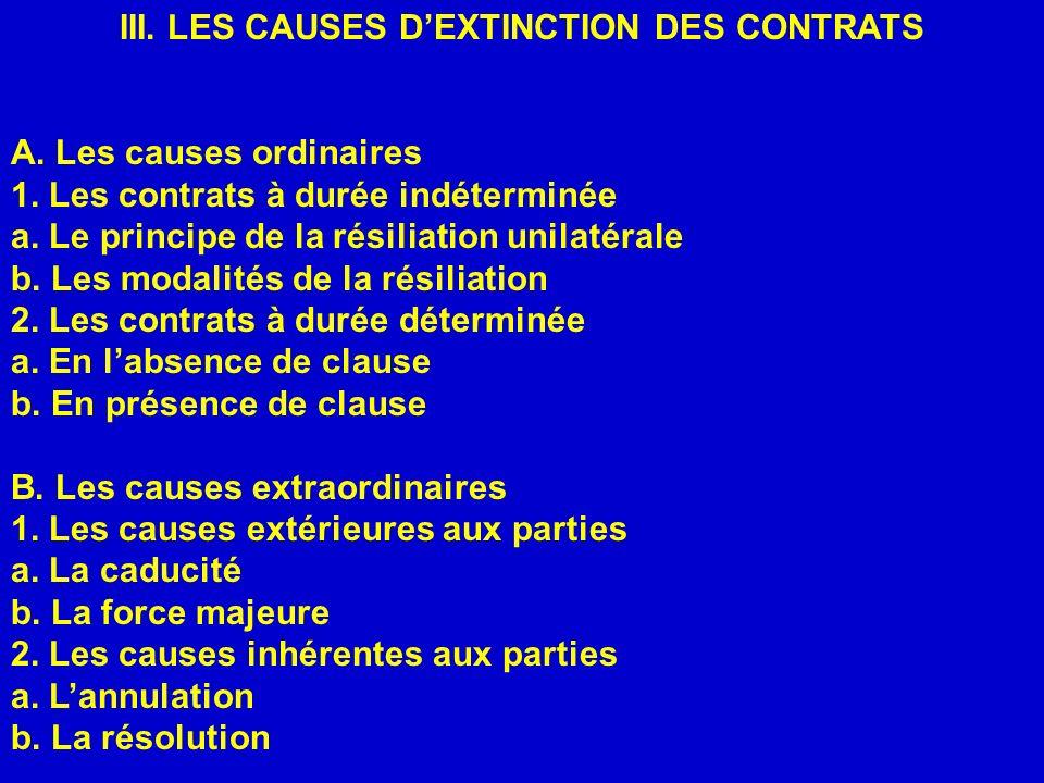 III. LES CAUSES DEXTINCTION DES CONTRATS A. Les causes ordinaires 1. Les contrats à durée indéterminée a. Le principe de la résiliation unilatérale b.