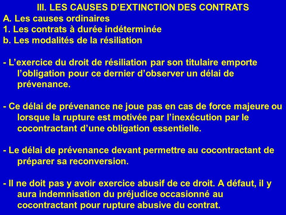 III. LES CAUSES DEXTINCTION DES CONTRATS A. Les causes ordinaires 1. Les contrats à durée indéterminée b. Les modalités de la résiliation - Lexercice
