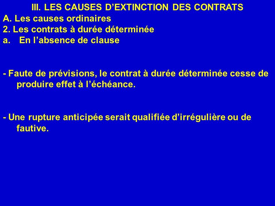 III. LES CAUSES DEXTINCTION DES CONTRATS A. Les causes ordinaires 2. Les contrats à durée déterminée a. En labsence de clause - Faute de prévisions, l