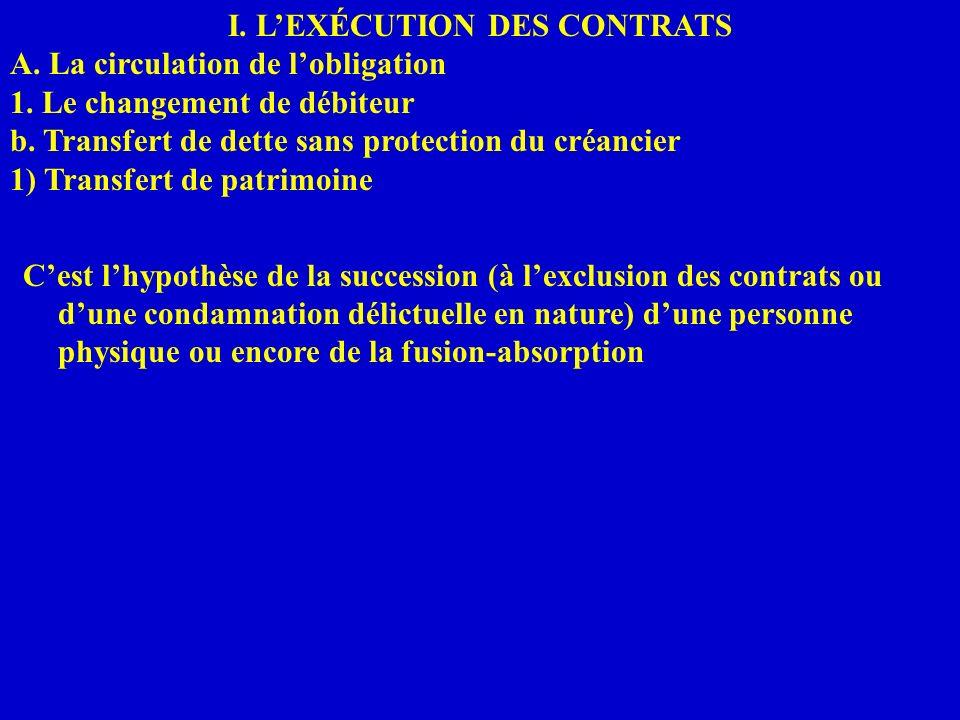 I. LEXÉCUTION DES CONTRATS A. La circulation de lobligation 1. Le changement de débiteur b. Transfert de dette sans protection du créancier 1) Transfe
