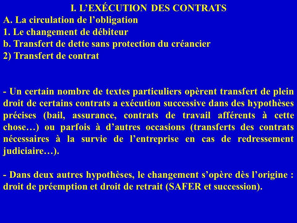 I. LEXÉCUTION DES CONTRATS A. La circulation de lobligation 1. Le changement de débiteur b. Transfert de dette sans protection du créancier 2) Transfe