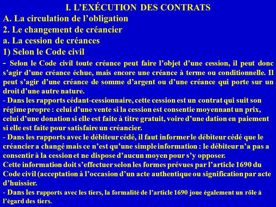I. LEXÉCUTION DES CONTRATS A. La circulation de lobligation 2. Le changement de créancier a. La cession de créances 1) Selon le Code civil - Selon le
