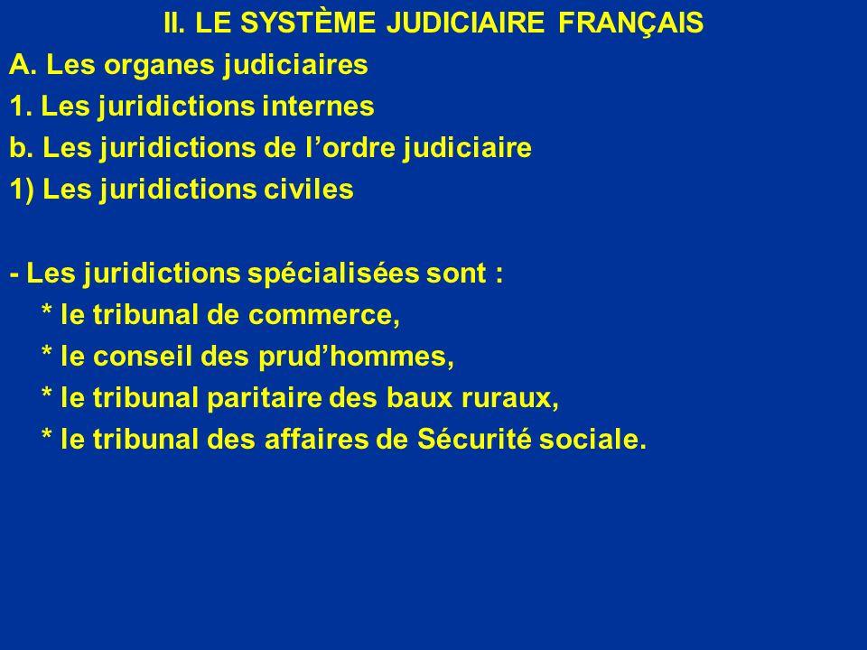II. LE SYSTÈME JUDICIAIRE FRANÇAIS A. Les organes judiciaires 1. Les juridictions internes b. Les juridictions de lordre judiciaire 1) Les juridiction