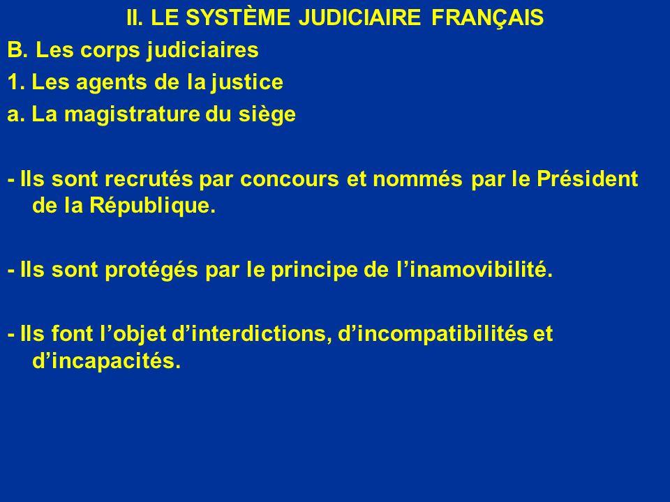 II. LE SYSTÈME JUDICIAIRE FRANÇAIS B. Les corps judiciaires 1. Les agents de la justice a. La magistrature du siège - Ils sont recrutés par concours e