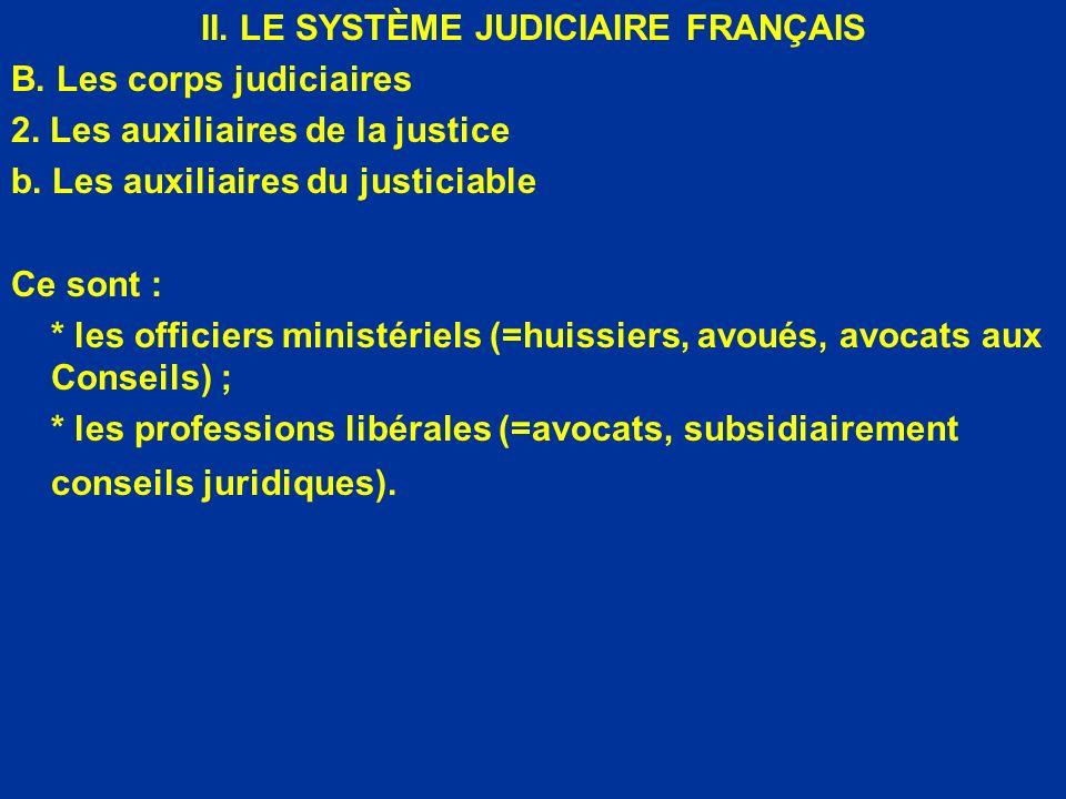 II. LE SYSTÈME JUDICIAIRE FRANÇAIS B. Les corps judiciaires 2. Les auxiliaires de la justice b. Les auxiliaires du justiciable Ce sont : * les officie