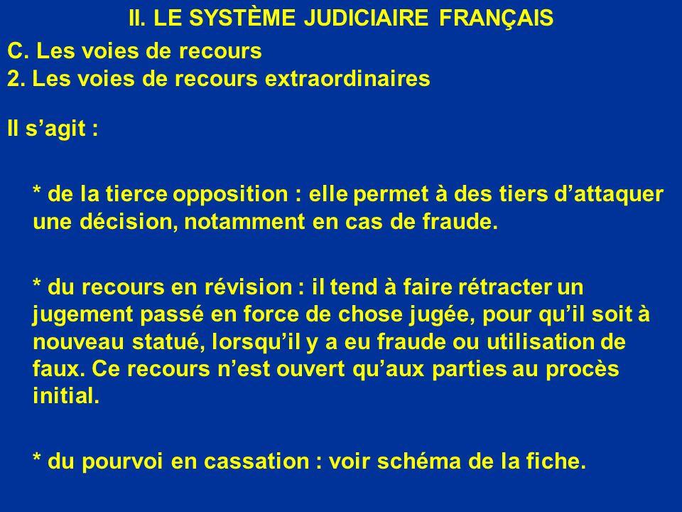 II. LE SYSTÈME JUDICIAIRE FRANÇAIS C. Les voies de recours 2. Les voies de recours extraordinaires Il sagit : * de la tierce opposition : elle permet