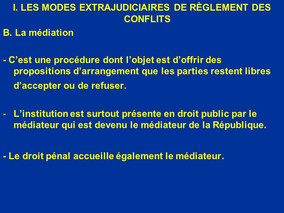 I. LES MODES EXTRAJUDICIAIRES DE RÈGLEMENT DES CONFLITS B. La médiation - Cest une procédure dont lobjet est doffrir des propositions darrangement que