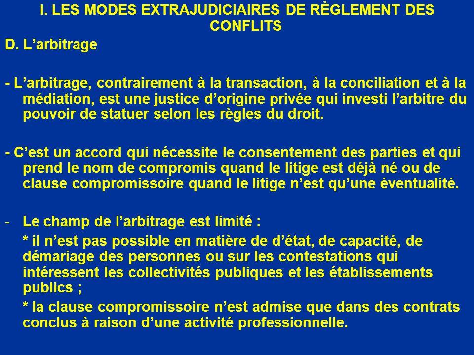 I. LES MODES EXTRAJUDICIAIRES DE RÈGLEMENT DES CONFLITS D. Larbitrage - Larbitrage, contrairement à la transaction, à la conciliation et à la médiatio