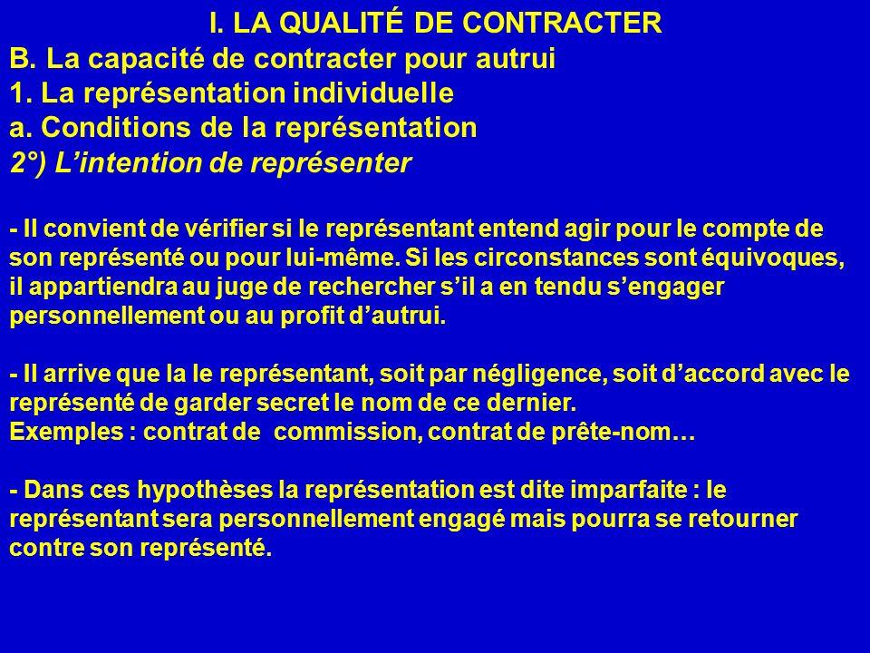 I. LA QUALITÉ DE CONTRACTER B. La capacité de contracter pour autrui 1. La représentation individuelle a. Conditions de la représentation 2°) Lintenti