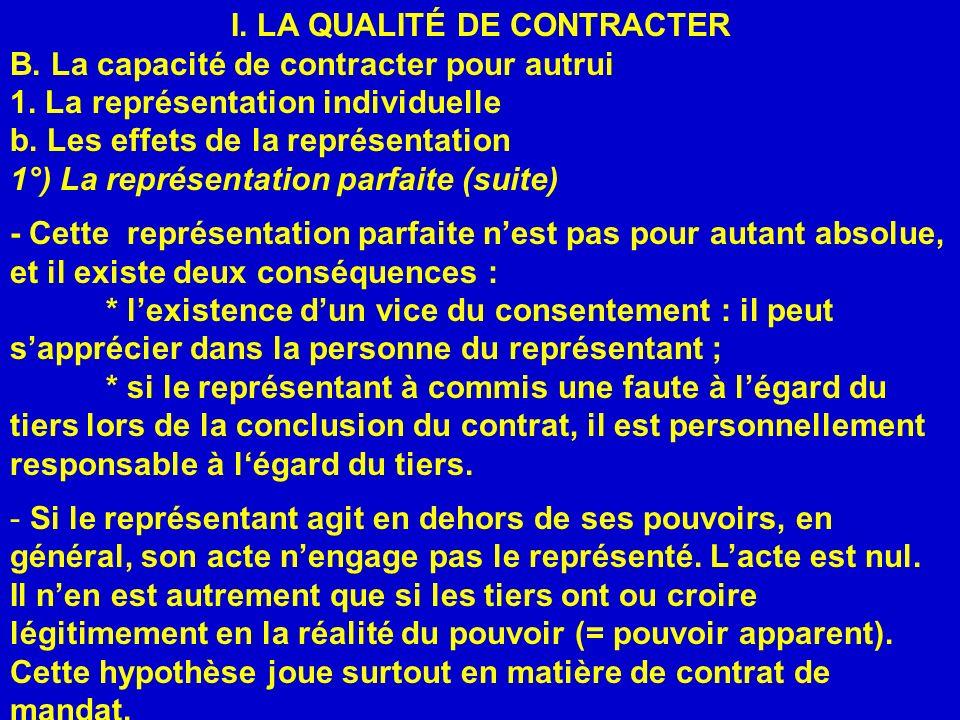 I. LA QUALITÉ DE CONTRACTER B. La capacité de contracter pour autrui 1. La représentation individuelle b. Les effets de la représentation 1°) La repré