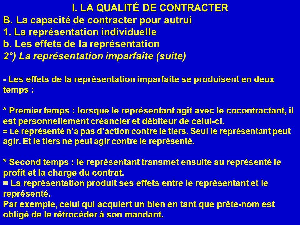 I. LA QUALITÉ DE CONTRACTER B. La capacité de contracter pour autrui 1. La représentation individuelle b. Les effets de la représentation 2°) La repré
