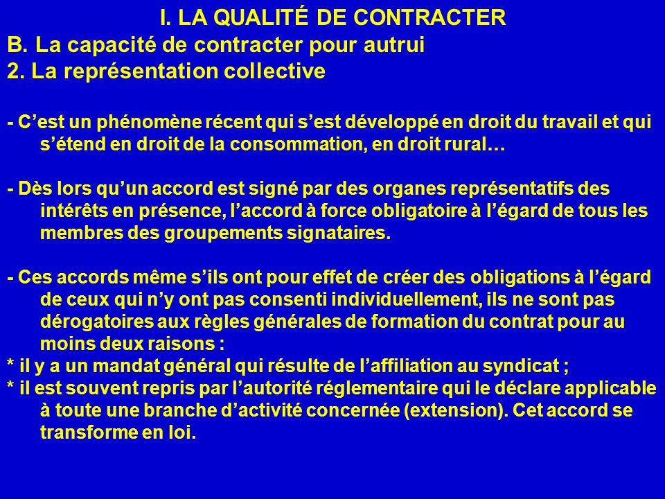 I.LA QUALITÉ DE CONTRACTER B. La capacité de contracter pour autrui 2.