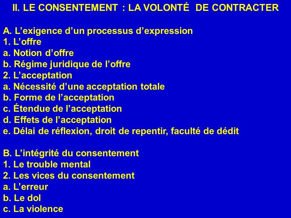 II. LE CONSENTEMENT : LA VOLONTÉ DE CONTRACTER A. Lexigence dun processus dexpression 1. Loffre a. Notion doffre b. Régime juridique de loffre 2. Lacc