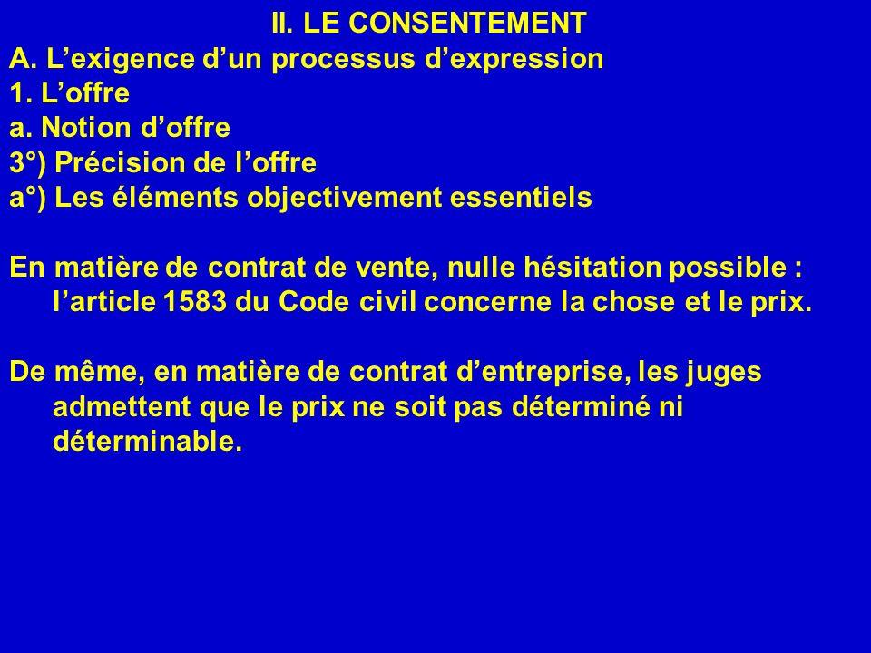 II. LE CONSENTEMENT A. Lexigence dun processus dexpression 1. Loffre a. Notion doffre 3°) Précision de loffre a°) Les éléments objectivement essentiel