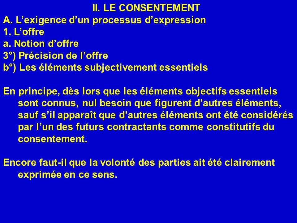 II. LE CONSENTEMENT A. Lexigence dun processus dexpression 1. Loffre a. Notion doffre 3°) Précision de loffre b°) Les éléments subjectivement essentie