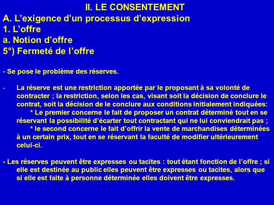 II. LE CONSENTEMENT A. Lexigence dun processus dexpression 1. Loffre a. Notion doffre 5°) Fermeté de loffre - Se pose le problème des réserves. -La ré