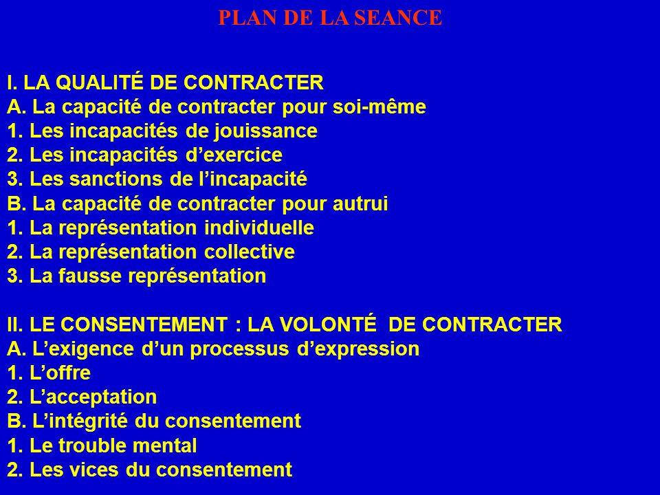 PLAN DE LA SEANCE I. LA QUALITÉ DE CONTRACTER A. La capacité de contracter pour soi-même 1. Les incapacités de jouissance 2. Les incapacités dexercice