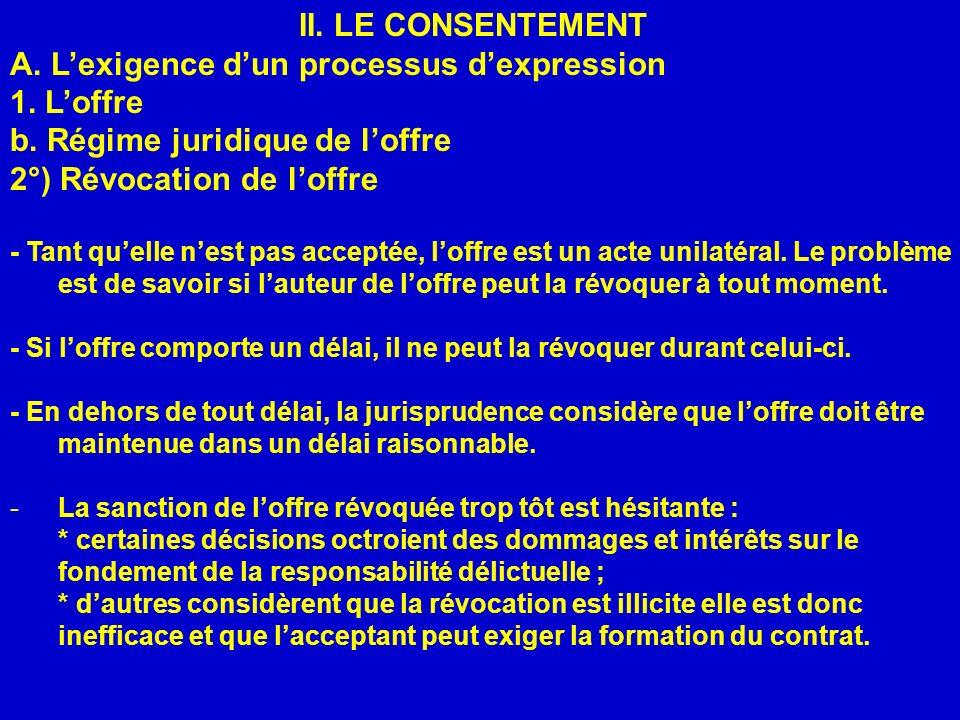 II. LE CONSENTEMENT A. Lexigence dun processus dexpression 1. Loffre b. Régime juridique de loffre 2°) Révocation de loffre - Tant quelle nest pas acc