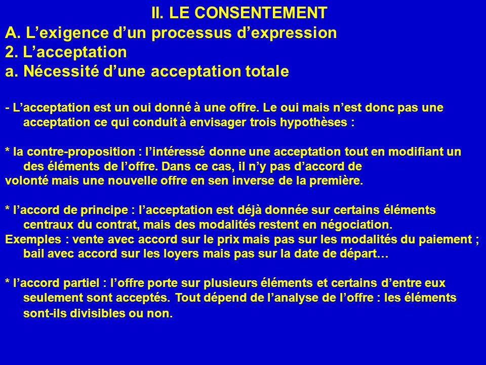 II. LE CONSENTEMENT A. Lexigence dun processus dexpression 2. Lacceptation a.Nécessité dune acceptation totale - Lacceptation est un oui donné à une o